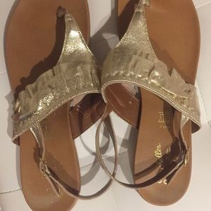 Anthropologie Seychelles Gold Sandal
